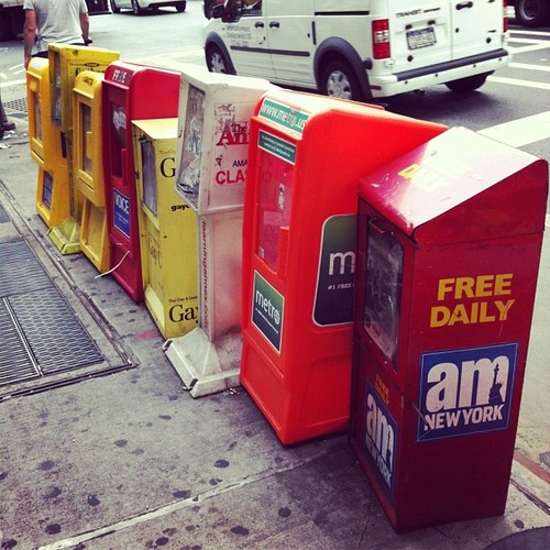 La venta de periódicos en las calles de Nueva York y otras cosas del pasado (foto tomada el 8 de agosto de 2013 en la Novena Avenida)