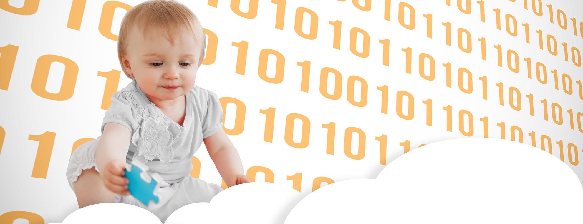 Un niño con un fondo binario