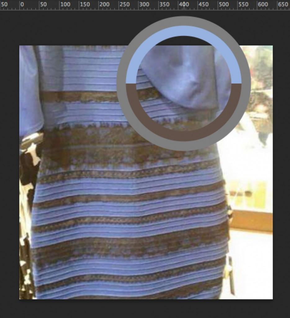 Zona celeste del vestido seleccionada con el cuentagotas