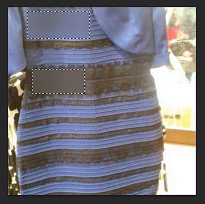 """Efecto """"Mediana"""" en dos de las """"áreas de la discordia"""" del vestido"""