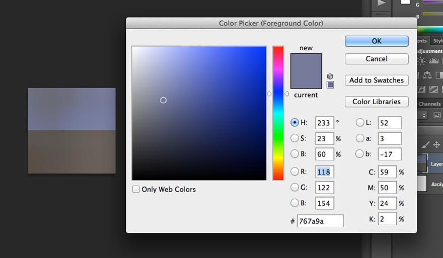 El cuentagotas de Photoshop nos saca de dudas en esta zona: es una zona en la gama de los azules.