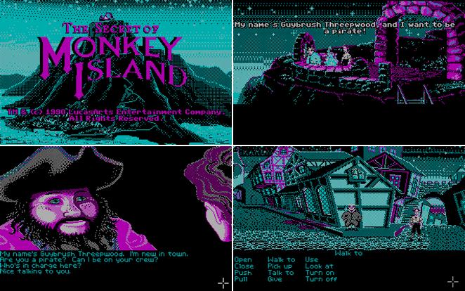 Así se veía al original Guybrush Threepwood en un monitor CGA con 4 colores
