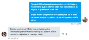 Conversación con Fernando Carrasco por MD en Twitter