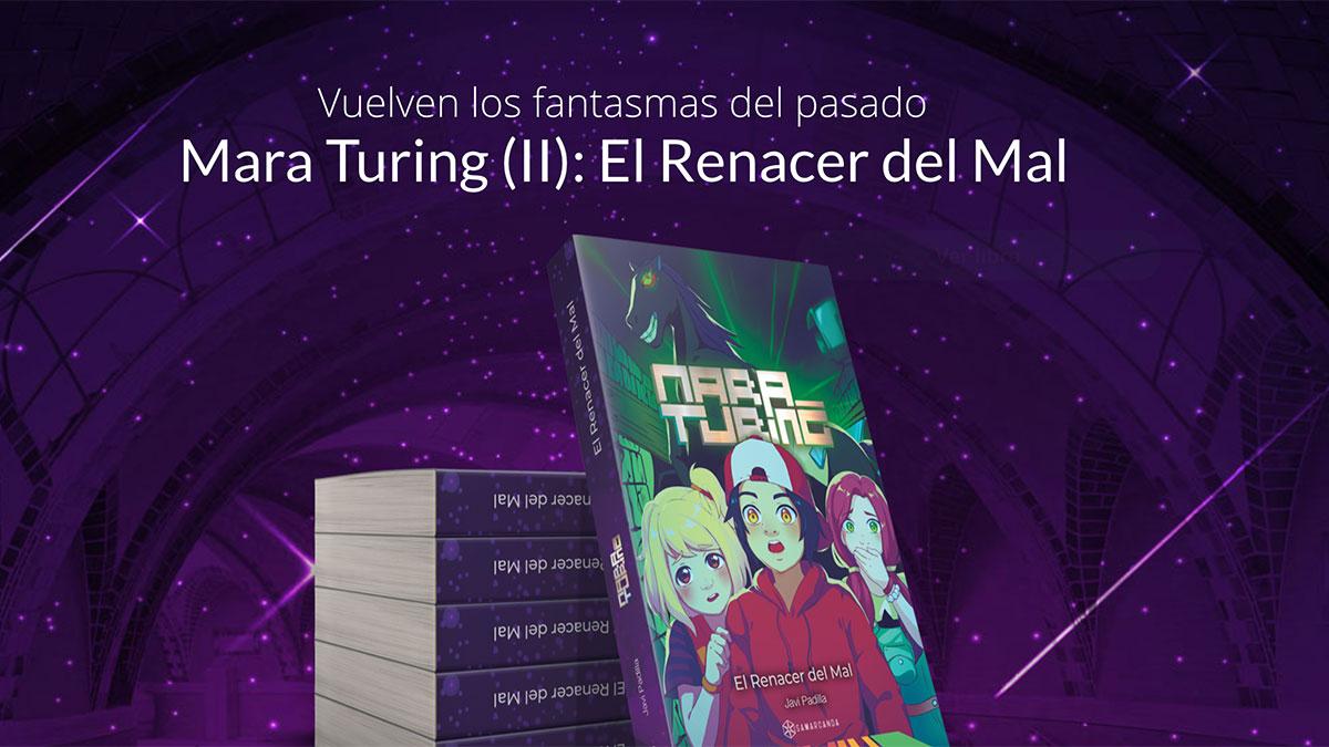 Inicio del sitio web de Mara Turing con la portada de El Renacer del Mal